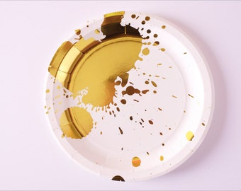 """Stay Gold - 9"""" Gold Foil Paper Plates (10)"""