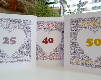 Personalised Anniversary Card, 25th/40th/50th/65th Wedding Anniversary Card, Personalised Silver/Ruby/Golden/Sapphire Wedding Card