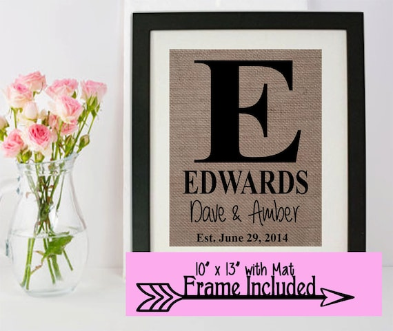 Monogramed Frame Last Name Frame Gift For Her By Momakdesign