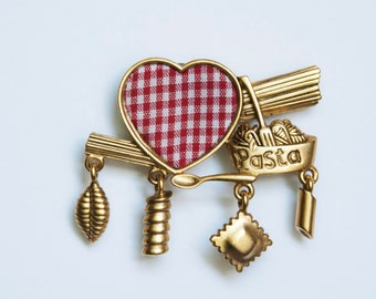 Red Checkered and Gold Pasta Pin Magnet