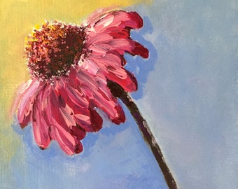 Pink and Magenta Coneflower...acrylic...small...painting