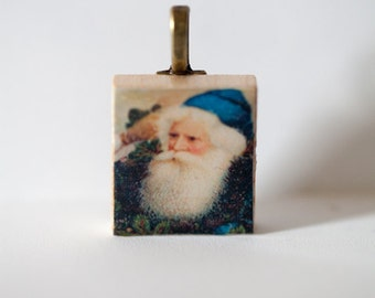 Vintage Christmas Santa Claus St. Nick Father Christmas Wooden Scrabble Tile & Resin Pendant