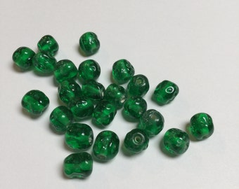 Vintage Japanese Glass Baroque Beads in Emerald Green (7 MM) - 24 Pieces - #676