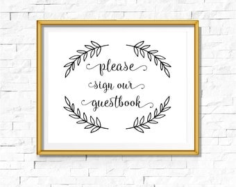 DIY PRINTABLE Black Foil Sign Our Guestbook | Instant Download | Wedding Ceremony Reception | Black Calligraphy | Party Print | Leaf Leaves