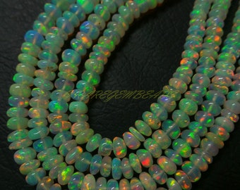 Natural Welo Ethiopian Opal Rondelles, Ethiopian Opal Smooth Rondelle Beads, 3.50-4.50 MM Size, 16 Inches Strand, Loose Gemstone Roundel 3