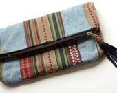 Denim Foldover Clutch // Hipster Medium Clutch // Upcycled Women's Purse // Hipster Jean Bag