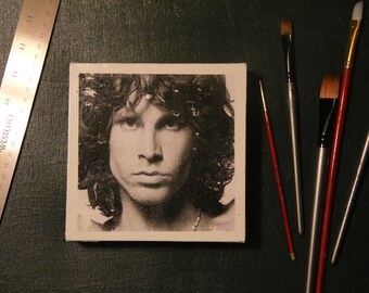 "OOAK Jim Morrison The Doors Photo Transfer 6""x6""x1.5"""