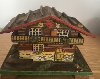 Vintage Swiss Chalet Music Box Wooden