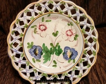 Beautiful vintage Portuguese lattice collectable plate, free shipping