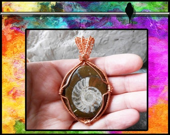 Natural Ammomite Fossil Handmade Copper Wire Wrapped Pendant