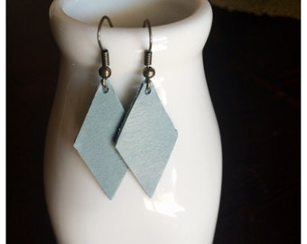 Diamond Cut Leather Earrings - Pastel Blue