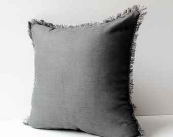 Charcoal Pillow with Fringes,  Linen Pillow Cover, Pillow Covers 20x20, 18x18, 16x16, 24x24, Grey Linen Pillows