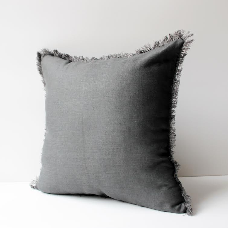 Black Throw Pillows With Fringe : Charcoal Pillow with Fringes Linen Pillow Cover Pillow