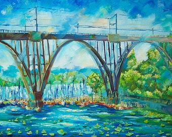 "Painting, painting, art, oil on canvas, impressionism ""The Bridge"""