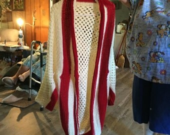 Off white and maroon crochet sweater