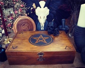 Altar box, Witchcraft, pentagram, pentacles