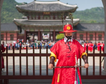 Seoul Photo Print, Large Canvas Art, Royal Palace Guards, Korea Wall Art, Art Deco, Art Nouveau, Metallic, Home Decor Photo