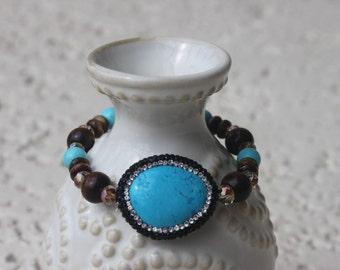 Turquoise Crystal Bezel Stretch Bracelet, Boho, Stretch bracelet, Boho Chic