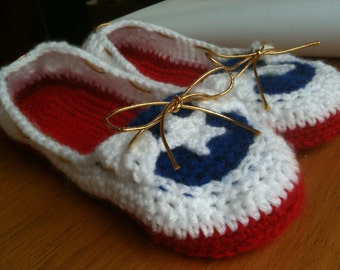 Women's Crochet Boat Slippers in Patriotic Colors
