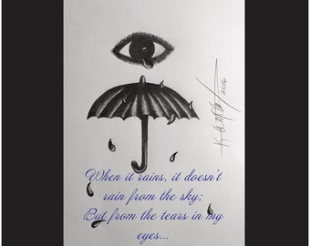 Printed Poster Art of an Abstract Drawing of Tears as Rain from the Eye, 16 x 20