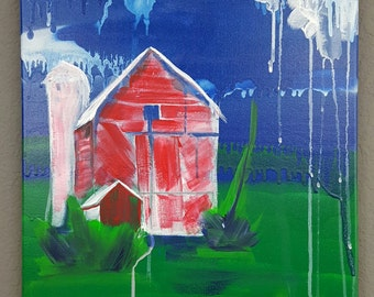 Red Barn Painting - spray paint and acrylic on canvas