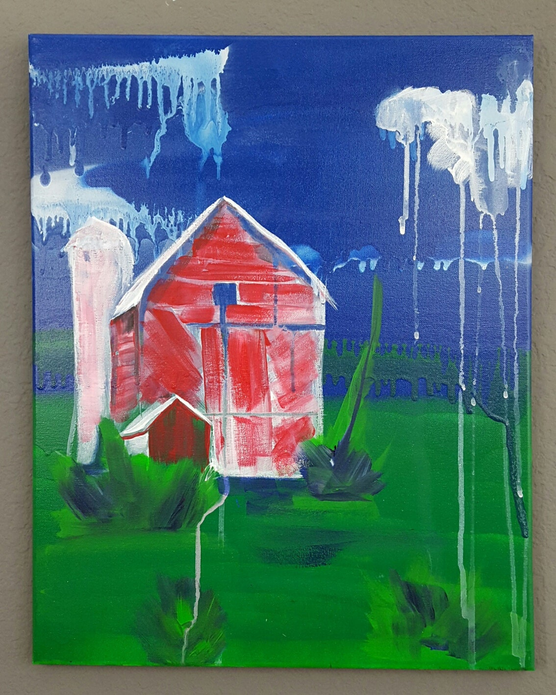 Red Barn Painting Spray Paint And Acrylic On Canvas