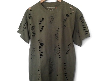 Olive Green Distressed Tee