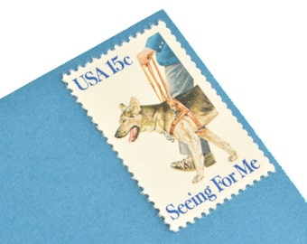 25 Seeing Eye Dog Stamps - 15c - Unused Vintage Postage from 1979 - Quantity of 25