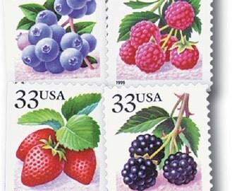 20 Berries Stamps - 33c - Vintage - Unused Postage - Fruit