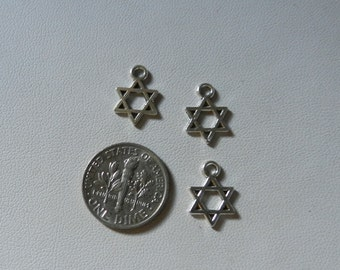 Tibetan Silver Small Star of David charms 10 pieces V5276