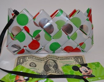 Polka Dot  Candy Wrapper Clutch Purse Red/ Green / White/ Silver