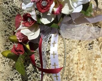 READY MADE - White and Burgundy Silk Keepsake Christian Bridal Bouquet