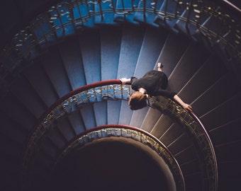 Stairway to heaven, Woman, Fine art photography, Blue, Redhead, Horizontal, Print
