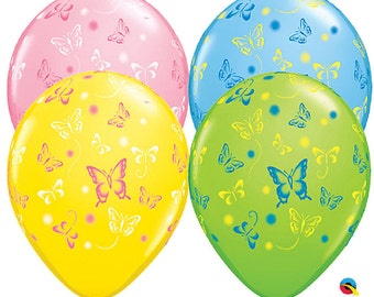 "6 x 11""Butterflies Latex Balloons in Pastel Colours by Qualatex Children's Birthday Party"