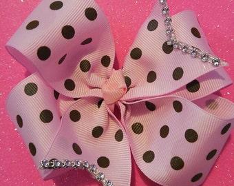 Pink Polka-Dotted Pinwheel Bow