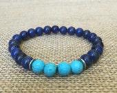 Men's Lapis Lazuli Bracelet Turquoise Bracelet Men's gift handmade Jewelry Yoga Bracelet