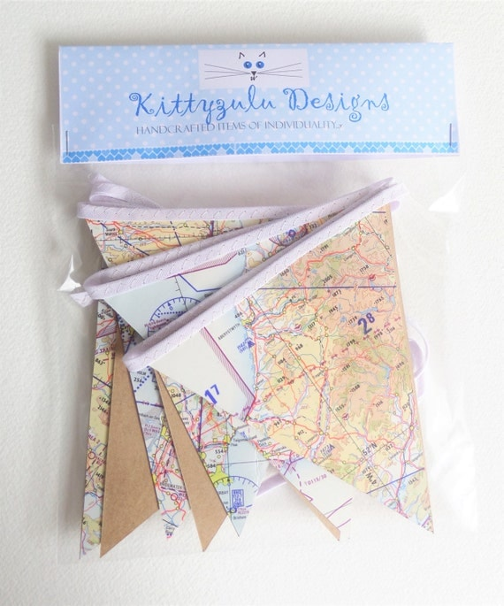Aeronautical map bunting, Paper bunting made from an old flying map.