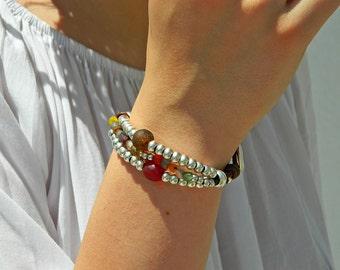 Wrap Boho bracelet,wrap bracelet,leather wrap bracelet,beaded wrap bracelet,leather bracelet, silver plated,beaded bracelet,PV005