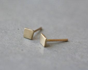 14k gold square stud earring-14k gold tiny handmade earrings