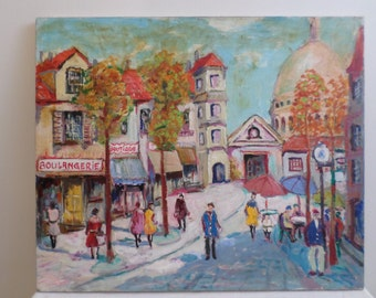"""Mid Century Oil On Canvas """"French Street"""" Painting"""