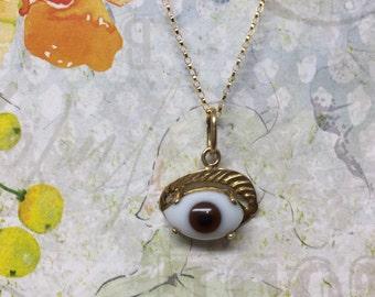 Unusual 14k evil eye charm necklace