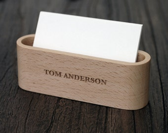 Wood Business Card Display, Unique Office Gift for Men, Desk Accessories, LWCS01