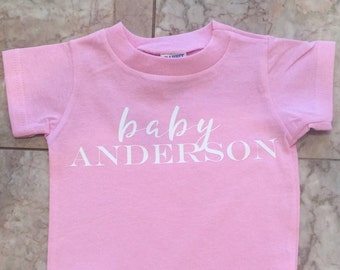 Baby Onesie with families last name- baby shower gift -