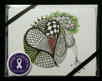 Zentangle note cards (10 cards with envelopes) Pancreatic cancer fundraiser