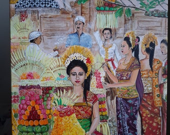 Piodalan - Original Acrylic Painting On Canvas - Balinese Ceremony With Traditional Costumes
