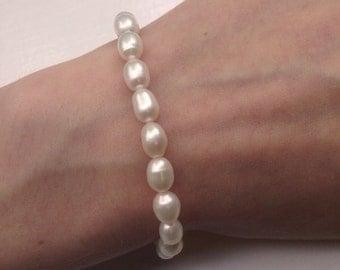 Natural Freshwater Pearls Bracelet, White Pearl Bracelet, Elegant Bracelet