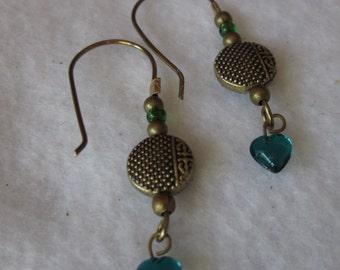 Antique Brass Green/Teal Earrings