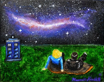 "Original Galaxy Doctor Who Painting 10"" X 7 3/4"""