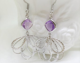 Wedding Jewelry, Bridal,tanzanite,clip on earings,Bridesmaid, Gift for her, Silver Dangle Earrings, Teardrop, Purple Earrings