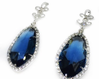 Sapphire dangle earrings, wedding, glamorous earrings, bridesmaid, mother of the bride, wedding guest, evening wear